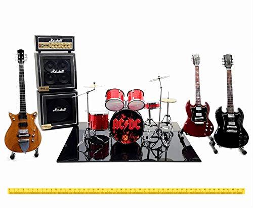 Mini live set AC/DC miniature model in scala 1:4 drum kit Angus Young guitar gadget Rock modellismo da collezione acdc