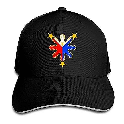 Pinoy Filipino Flag Stars Trucker Hat Baseball Cap Adjustable Sandwich Hat Black