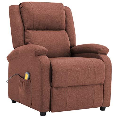 vidaXL Massagesessel Elektrisch Heizfunktion Fernsehsessel Relaxsessel Liegesessel Ruhesessel Polstersessel TV Sessel Shiatsu Braun Stoff