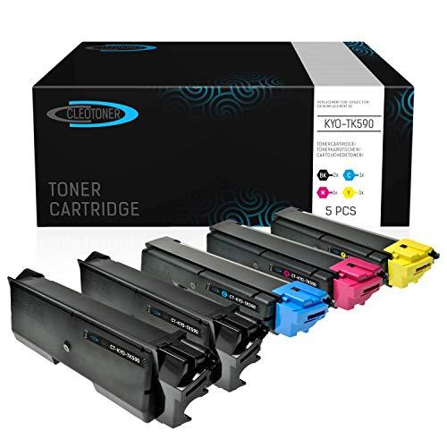 5 CLEOTONER Kompatibel für Kyocera TK-590 Toner Kompatibel für Kyocera ECOSYS M6526CDN FS-C5250DN P6026CDN FS-C2126MFP M6026CDN FS-C2026MFP FS-C2626MFP M6526CIDN Schwarz Cyan Magenta Gelb