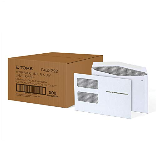 "TOPS 1099 Envelopes, for 1099 NEC, 1099 MISC, 1099 R, 1099 INT & 1099 DIV, Double Window Security Envelopes, Gummed, 5-5/8"" x 9"", 500/Carton (TXB2222)"