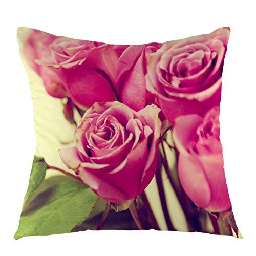 Funda de almohada de color rosa rosa flor Bud Vintage Square Throw Funda de cojín para el hogar sofá al aire libre asiento de coche decorativo 45,7 x 45,7 cm rosa verde