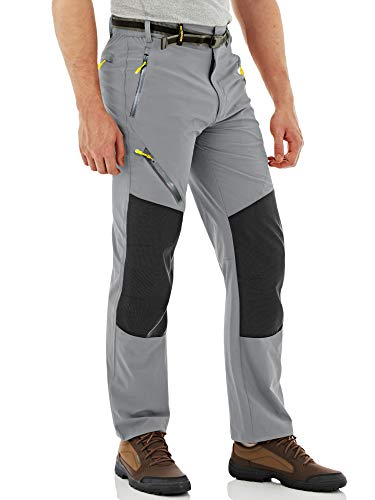 MAGCOMSEN Pantalones de caza para hombre, ligeros, resistentes al agua, para senderismo, exteriores, trekking, primavera, verano, pantalones finos con bolsillos con cremallera, gris claro, 40