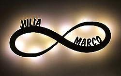 """Ambientelicht/Liebeslicht""""Unendlichkeit/Infinity"""" personalisiert mit Namen - mit LED Beleuchtung - Das perfekte Geschenk zum Geburtstag, Jahrestag oder zur Hochzeit - optional mit Lackierung"""
