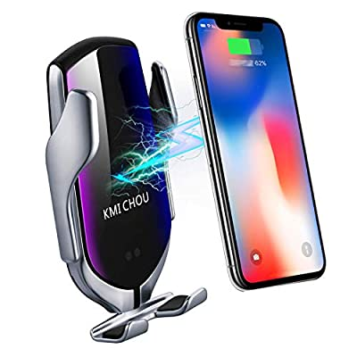 KMI CHOU R2 Wireless Car Charger,Automatic Clamping IR Intelligent Wireless Car Charger Mount - Car Charger Holder 10W Fast Charging for iPhone Xs Max/XR/X/8/8Plus Samsung S10/S9/S8/Note 8?Silver? from KMI CHOU