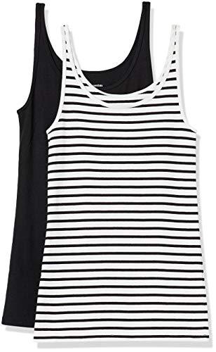 Amazon Essentials 2-Pack Thin Strap Tank Camiseta, Blanco/Negro Rayas/Negro, S