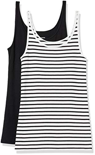 Amazon Essentials 2-Pack Thin Strap Tank-Top-and-Cami-Shirts, Blanco/Negro Rayas/Negro, XXL