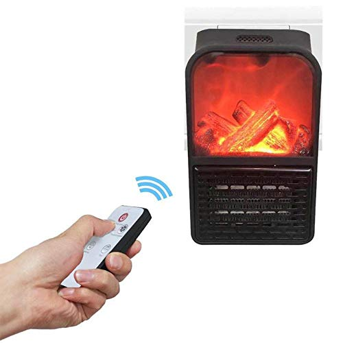 Calefactor Flame Heater mini práctico portátil compacto de 500 W temporizador 3D chimenea con mando a distancia