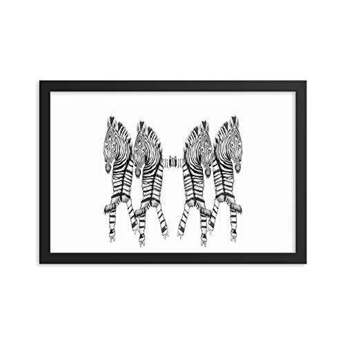 Poster mit Rahmen, Motiv Tanzende Zebras auf Rollschuhen, Premium-Fotopapier 12×18 weiß