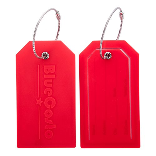 Hibate 2/5 Piece Flexible Silicone Luggage Tags Luggage Tags Luggage Tags Red 2_Rot One Size
