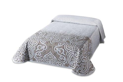 Textilia Picasso C/1 Colcha Piqué para Cama de 135, Poliéster, Fondo Blanco con Dibujo adamascado Beige, Matrimonial, 270x235x3 cm