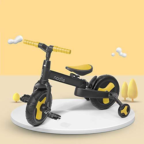 QBLDX Triciclo 5 en 1 - Scooter de Equilibrio Propulsado a Mano, Doblar en Un Segundo, Cómoda Absorción de Impactos,Yellow