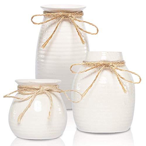 White Vases for Decor - Rustic Home Decor, Modern Farmhouse Decorations - Ceramic Vase for Fireplace Decor - Vases for Flowers, Rustic Decor for Living Room - Farmhouse Decor for The Home, Set of 3