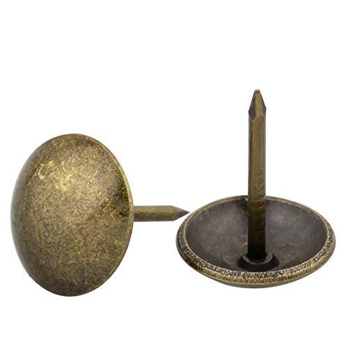 Yasorn Antique tapicería de clavos decorativos de muebles DIY Nailhead (bronce, conjunto de 100pcs)