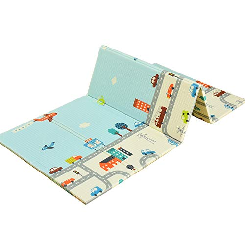 Read About Baby Play Mat BPA FREE Non Toxic Extra Large Reversible Foam Crawling Mat Toddlers Waterp...
