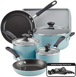 Farberware Cookstart Aluminum DiamondMax Nonstick Cookware Set, 15-Piece (Aqua)