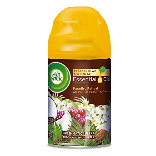 Air Wick Life Scents Automatic Air Freshener Spray, Paradise Retreat with Coconut, Almond Blossom & Cherry Scent, 6.17 oz (Pack of 8)