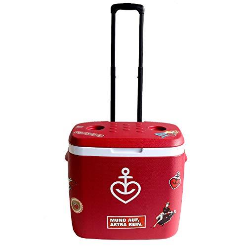 ASTRA Kühlbox Kühltasche Flaschenkühler mit Trolley-Funktion und Fuchsschwanz aus Fellimitat, 36 Liter, rot mit Herzanker-Druck