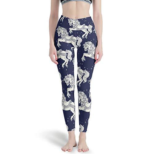 Leggings deportivos para mujer de Gamoii, unicornio Pegasus, estampados, pantalones de yoga, cintura alta, hasta el tobillo blanco M