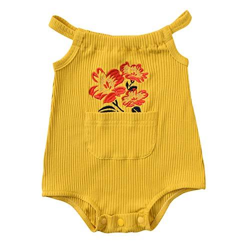 Mono de bebé para niñas pequeñas acanalado, mono halter, mameluco recién nacido, verano, flor, una pieza, pijama, ropa casual