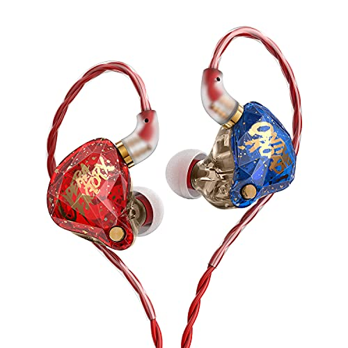 KBEAR OS1PRO & Whizzer in Ear Monitor Auricolari per Musicisti, Hi-Fi Cuffie Cuffie Wired, Graphene Dynamic Bass Boosted Loud, Noise Canceling, Auriculares Cavo staccabile Blu Rosso -Mic