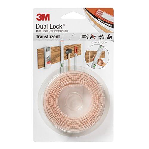 3M SJ356025 Dual Lock High-Tech, Chiusura a Pressione, 25 mm X 1, 25 m, Translucido, 1 Pezzo