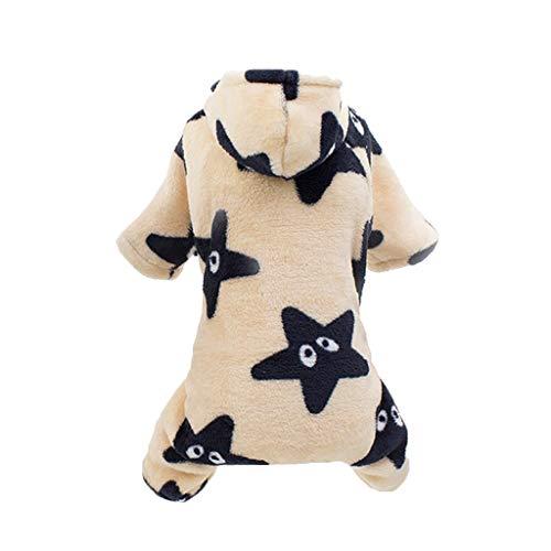 YueLove Hundekleidung Kapuzenpullover,Plüsch Hundemantel Hundejacke Hundepullover Hoodie Sternendruck Warm Winter Mantel Kostüm Sweatshirt Haustier Kleidung für Kleine Hunde, Welpen, Teddy, Pudel