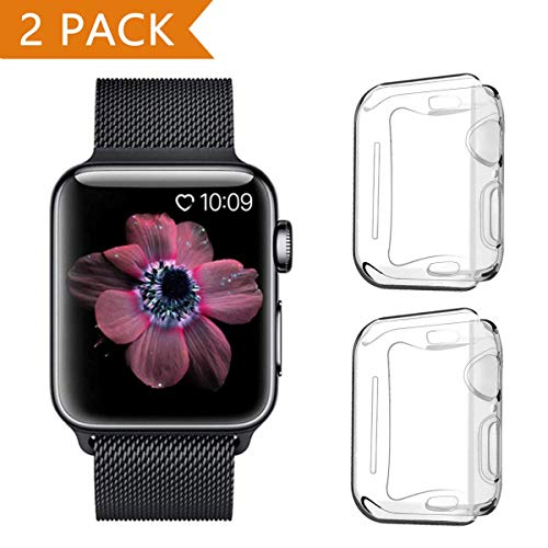 PEYOU Cover per Apple Watch Series 5/Series 4 44mm (2 Pezzi), Proteggi Schermo iwatch 4 [Copertura Completa] [HD Clear] [Anti-Graffio] Custodia Morbida in TPU per Apple Watch Series 5/ Series 4