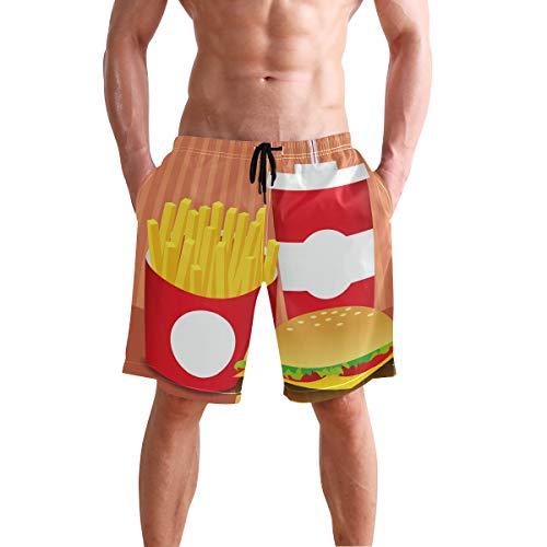 AMONKA Fast Food Set Cola Fries Burger Herren Badehose Quick Dry Beach Board Short Casual Polyester Shorts mit Taschen S Gr. XXL, Mehrfarbig