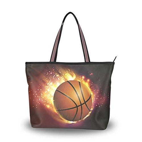 Ahomy Große Reisetasche mit Basketball-Motiv auf Feuer, Strandtasche, Urlaub, Einkaufen, Handtaschen, Mehrfarbig - multi - Größe: Large