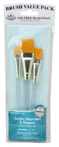Royal and Langnickel RSET-9160 - Astuccio con 3 pennelli Gold Taklon Glaze Wash