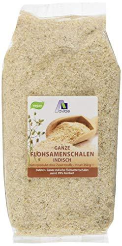 Avitale Ganze Flohsamenschalen aus Indien, 99% Reinheit, reich an Ballaststoffen - Geprüfte Lebensmittel-Qualität aus Indien - Verpackt in Deutschland, 1er Pack (1 x 250 g)