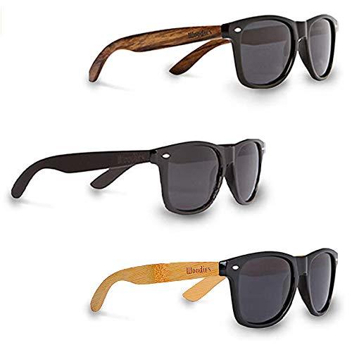 Woodies - Juego de tres gafas de sol de madera de nogal, bambú y madera de ébano