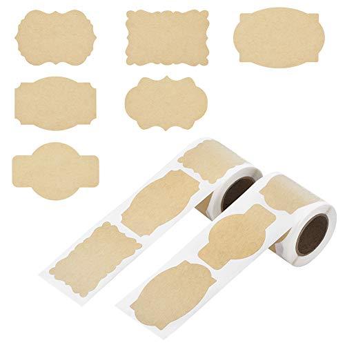 Irich Etichette di Carta Kraft, Etichette Adesive per Barattoli Vetro Buste Bottiglie Fai da Te Scatole Casa e Ufficio
