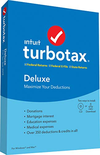 TurboTax Tax Software Deluxe + State 2019 [Amazon Exclusive] [PC/Mac Disc]