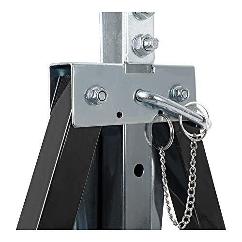 Tréteau télescopique STIER, capacité de charge 200 kg, chandelle réglable en hauteur 82-130 cm, en tube d'acier carré, revêtement en plastique résistant aux rayures