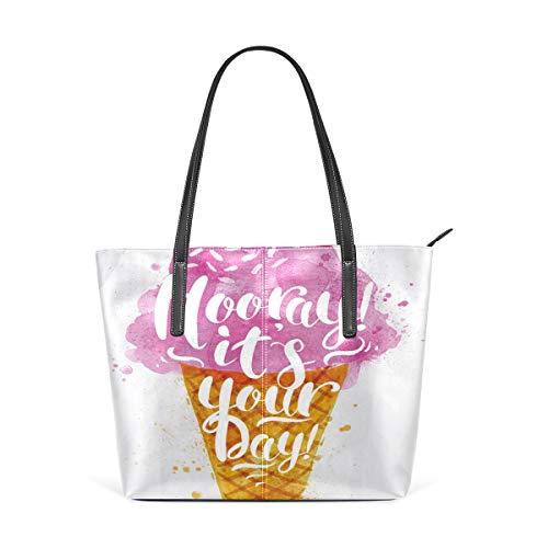 NR Multicolour Fashion Damen Handtaschen Schulterbeutel Umhängetaschen Damentaschen,Eis-Zitat-Kirschdruck