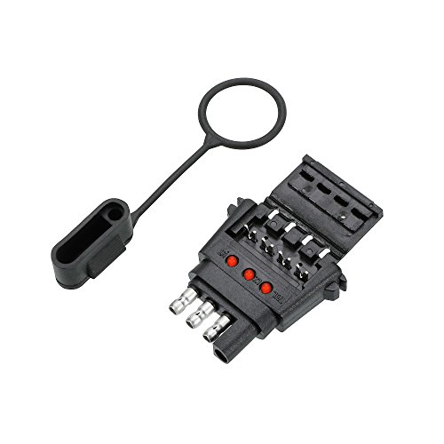 Reese Towpower 78115 Insta-Plug Trailer End Connector with LED Circuit Tester (4 Wire Flat)