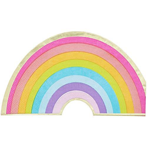 Juvale Papierservietten Regenbogen (Set, 50 Stück) - Form und Farben eines Regenbogens, 3-lagig - Perfekt für Kindergeburtstag, Motto-Party, Kinderfest - 16,5 x 9,5 cm