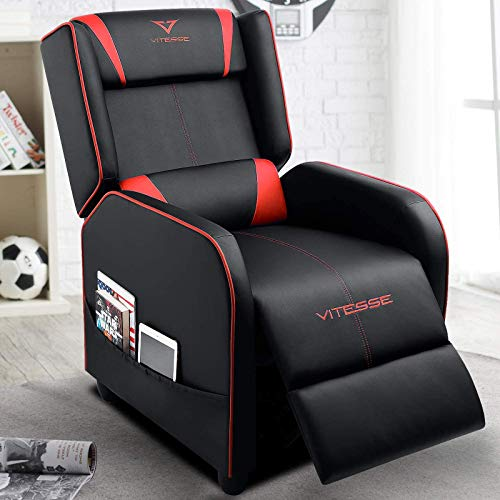 VIT Gaming Recliner Chair Racing Style Single PU Leather Sofa Modern Living Room Recliners Ergonomic Comfortable Home Theater Seating (Red)
