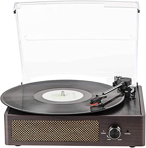 Vinyl Record Player Turntable with Built-in Bluetooth Receiver & 2 Stereo Speakers, 3 Speed 3 Size Portable Retro Record Player for Entertainment and Home Decoration