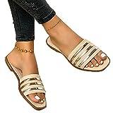 SKYWPOJU Muli da Donna Pantofole Piatte Muli Estivi Scarpe estive da Donna Pantofole comode (Color : Beige, Size : EU:42/UK:7/US:11)