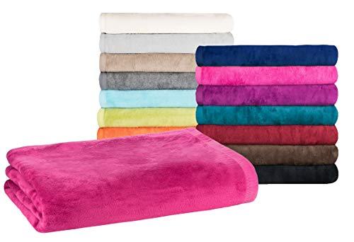 Moon - Classic Kuscheldecke 150x200 cm pink Wolldecke einfarbig, Pflegeleichte Baumwollmischung