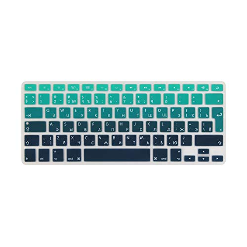 Russian EU Layout Enter Soft Silicone Cover Cover Protective Skin for MacBook Pro 13 15' Retina A1502 A1278 A1398 A1286 Gradiant Green-Pro15 A1286