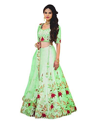 skyviewfashion Damen Bollywood Hochzeit Ethnischen Kleid Braut Lengha Indische Designer Partei Halb Genähten Lehenga Choli|Grün|Freie Größe...