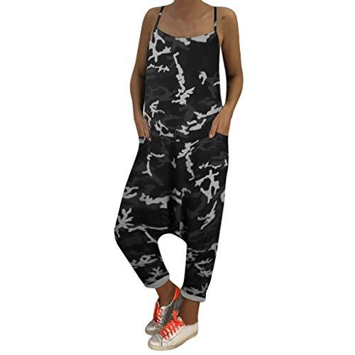 NPRADLA Jumpsuit Jumpsuits Damen Drucken Camouflage Lose Overalls Strampler V Ausschnitt Herem Hosen Sport Slacks