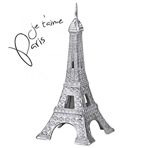 FineBuy Deko Design 3D Eiffelturm Modell Paris groß 24 x 53 x 24 cm Geschenk Metall Silbern   Dekoration Geschenkidee Frankreich   Figur Paris Tower modern