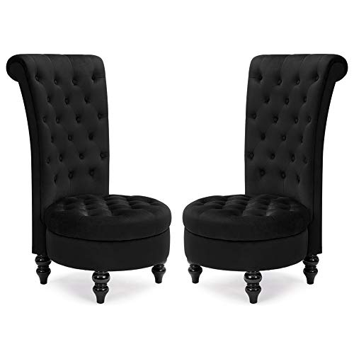 Avawing Queen Throne Chairs for 2,Retro Armless Sofa Chair for Bedroom Living Room,deep seat Chair with Sturdy Wood Legs (2, Black)