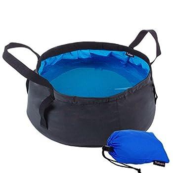 Bassin Pliant,Pliable Seau Bassin de lavage portatif leger et etanche a l'eau avec le sac de transport pour le camping de voyage lavant la peche 8.5L