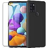 ARRYNN Funda Samsung Galaxy A21s con Cristal Templado Protector de Pantalla,Negro Ultra Slim Protectora Funda de Silicona Líquida Suave Case Cover para Samsung Galaxy A21s - Negro
